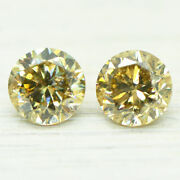 Matching Pair Diamonds Loose Round Shape Fancy Champagne Si1/2 Enhanced 1.44 Tcw