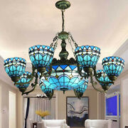 Baroque Style Chandelier Ceiling Light Blue Stained Glass Lamp Fixture