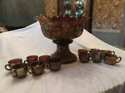 Huge Banquet Size Northwood Grape Cable Punch Bowl Set With 12 Cups