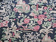 Vtg Paloma Picasso Cotton Fabric Jacobean Stylized Deer Fowl Black Red 54 X 45