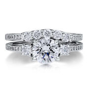 0.97 Carat Round Cut Real Diamond Band Set Size 7 6 14kt Solid White Gold Rings