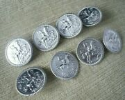 8 Antique Sterling Silver Buttons Horse And Rider London Import Marks 1903