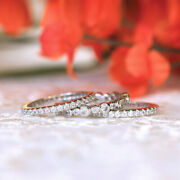 Round Cut 1.50 Ct Solid White Gold Rings 14k Real Diamond Women's Eternity Bands