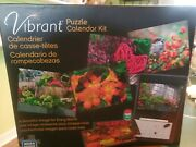 Vibrant Puzzle Calendar Kit 6 Two Sided 100 Piece Puzzles Wipe Off Calendar New