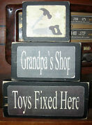 Grandpa's Shop Toys Fixed Here Primitive Rustic Stacking Blocks Wooden Sign Set