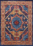 Village Mamluk Rug 10and039x14and039 Blue/red Hand-knotted Wool Pile