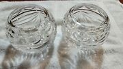 Pair Clear 24 Lead Crystal Made In Poland Rose Votive Heavy Bowls 4.5 Tall