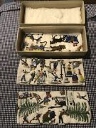 Antique 1920andrsquos Hans Heinrichsen German 30 Lead Figurines Skating Party With Box