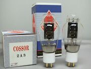 One Matched Pair Cossor 2a3 Audio Tubes Black Plate Gold Pins Free Shipping