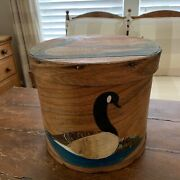 Vintage Hand Painted Primitive Box Goose Signed And Numbered S. Kempton 10/55