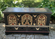 Antique Pennsylvania Dutch Amish Blanket Chest Hand Painted