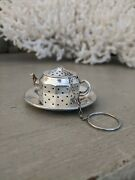 Vintage Sterling Silver Amcraft Tea Infuser Teapot Design Includes Saucer