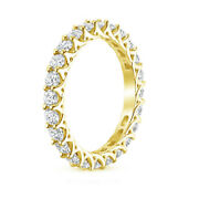 2.50 Ct Round Cut 14 K Solid Yellow Gold Real Diamond Womenand039s Eternity Bands