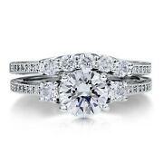 0.97 Ct Round Cut Real Diamond Band Set Size 7 6 5 4 14kt Solid White Gold Rings