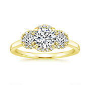 0.70ct Round Natural Diamond 14k Real Yellow Gold Christmas Gift Ring Size M L N