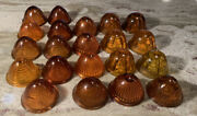 Vintage Auto Car Glass Lenses 20 Pc. Tail Light Etc Amber Used Sold As A Lot