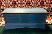Early 1800and039s Primitive Dry Blue Painted Wooden Divided Grain Chest Aafa
