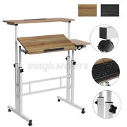 Sit And Stand Mobile Workstation Home Rolling Desktop Pc Desk Computer Table X