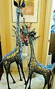 1989 Patchwork Steel Giraffe Sculptures Matched Set Mother 64 And Baby 51