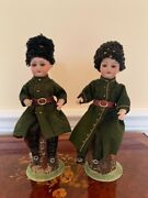 A Pair Of Antique German Soldiers Sitting On Stump - Candy Containers