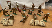 Lot Of 14 -1930s Barclay Manoil Cast Metal Wwi Toy Soldiers W/6 Trenchbagsrare