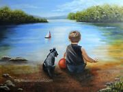 Young Boy And Puppy Lakeside Oil Painting Art By Teresa Bernard 24x18 Signed Coa
