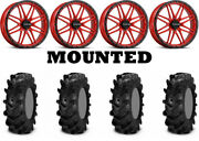 Kit 4 Itp Cryptid Tires 34x10-18 On Raceline A11r Krank Xl Red Wheels Pol