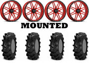 Kit 4 Itp Cryptid Tires 34x10-18 On Raceline A11r Krank Xl Red Wheels Fxt