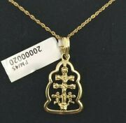 Pendant With Chain Gold 18k. Cross Of Caravaca With Pull Ondulado. 0 25/32in