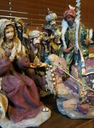 Christmas Vintage Hand Painted Resin 7 Piece Nativity Wise Men Figurines