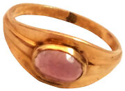 Beautiful Solid 10k Yellow Gold Child Ring With A Pinkish Semi Precious Stone...