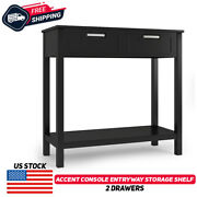 Accent Console Table Entryway Sofa Foyer Modern Shelf W/2 Drawers Black Home New
