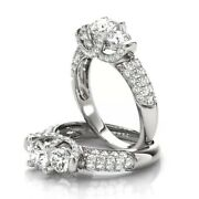 Round Cut 950 Platinum 1.46ct Women Real Solitaire Diamond Wedding Rings Size 10