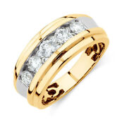Round Natural Diamond 1.25 Ct Wedding Rings 14k Yellow Gold Mens Bands Size 9