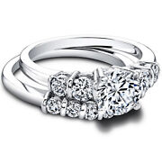 Real Round 950 Platinum 1.50ct Women Solitaire Diamond Engagement Band Size 6