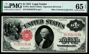 1917 Fr.37a 1 One Dollar Red Seal Legal Tender Note Pmg 65 Epq • Scarce Pop 8/5