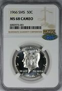 1966 Ngc Sms Ms68 Cameo Kennedy Half Dollar - Qa Approved Blast White And Frosty