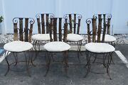 Western Style Set Of Six Horse Shoe Metal And Wood Dining Chairs 1804