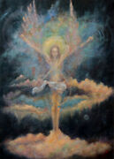 Unlimited Eight Angel - 20x28in Symbolic Religious Figurative Oil Painting