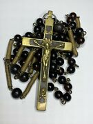 Anddagger 1800s Antique Nunand039s Mori Momento Crucifix Small Habit Belt Bovine Rosary 45 Anddagger