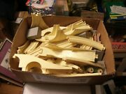 5  Vintage Small Wooden Train Colorful Wagon Main Car 57 Piece Set