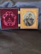 1/6th Plate Ambrotype Gutta Percha Case Mother And Daughter Antique Photo Tinted