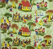 Vintage 60s 70s Cotton Fabric Childrenand039s Juvenile Novelty Fairy Tales 75 X 44