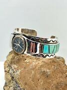 George Bennett Signed Navajo Sterling Silver Flush Inlay Turquoise Watch Cuff