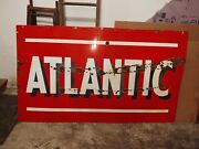 Atlantic Porcelain Double Sided Gas Oil Sign 72