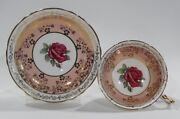Rare Paragon Johnson Floating Dark Red Rose Cup And Saucer Dusty Rose And Filigree