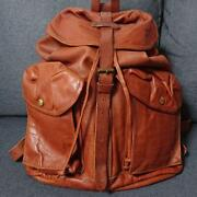 Rrl All Leather Backpack Hand Bag Brown Camel Tone With Pocket From Japan Used