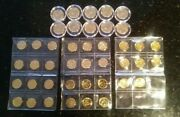 24k Gold Plated Lot Of 32 Lincoln Wheat Cent Penny And 10 Canadian Quarter Coins