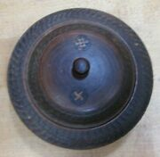 Antique Swirling Log Wooden Trinket Box Tobacco Snuff 1800s Good Luck And039swastikaand039