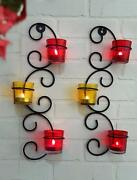 Metal Wall Sconce With Glass Cups And Tealight Candles Wall Hanging-set Of2-f Ship